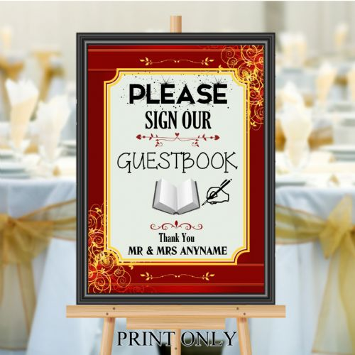 Personalised Wedding Please sign our Guest book Sign Poster Banner N190